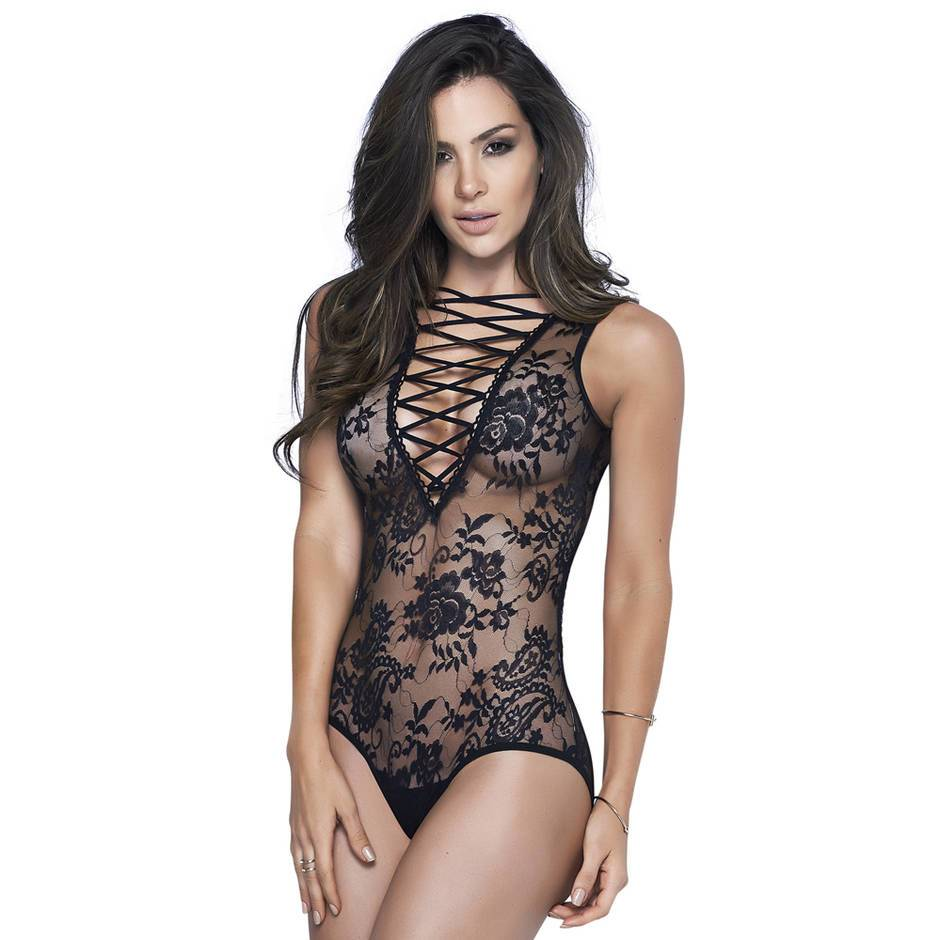 Mapale Black Lace-Up Sheer Body