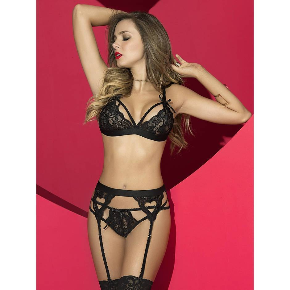 Mapale Sweetheart Black Lace Bra Set
