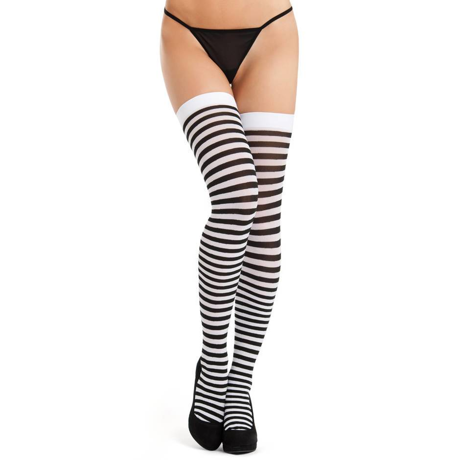 Lovehoney Black and White Striped Stockings
