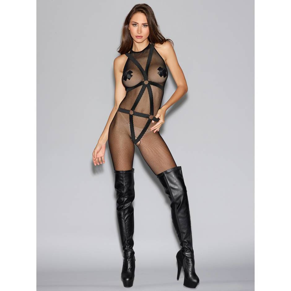 Dreamgirl Black Fishnet Halterneck Bodystocking with Body Harness