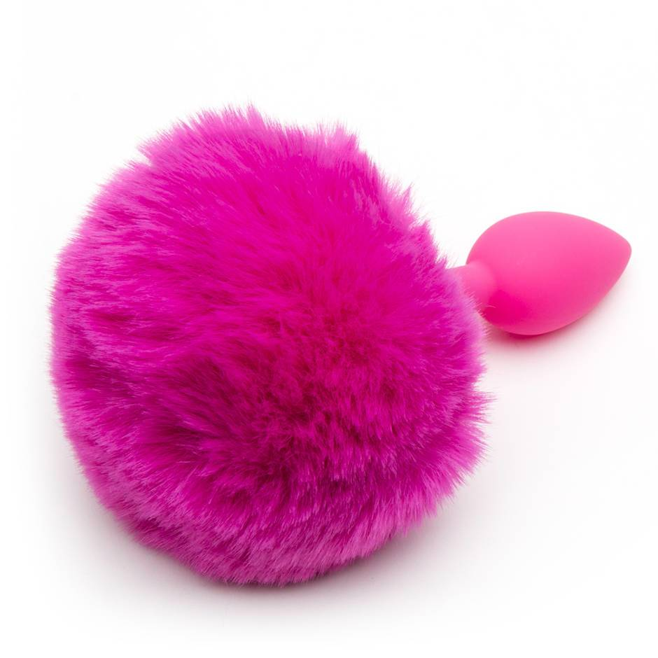 Neon Silicone Bunny Tail Butt Plug