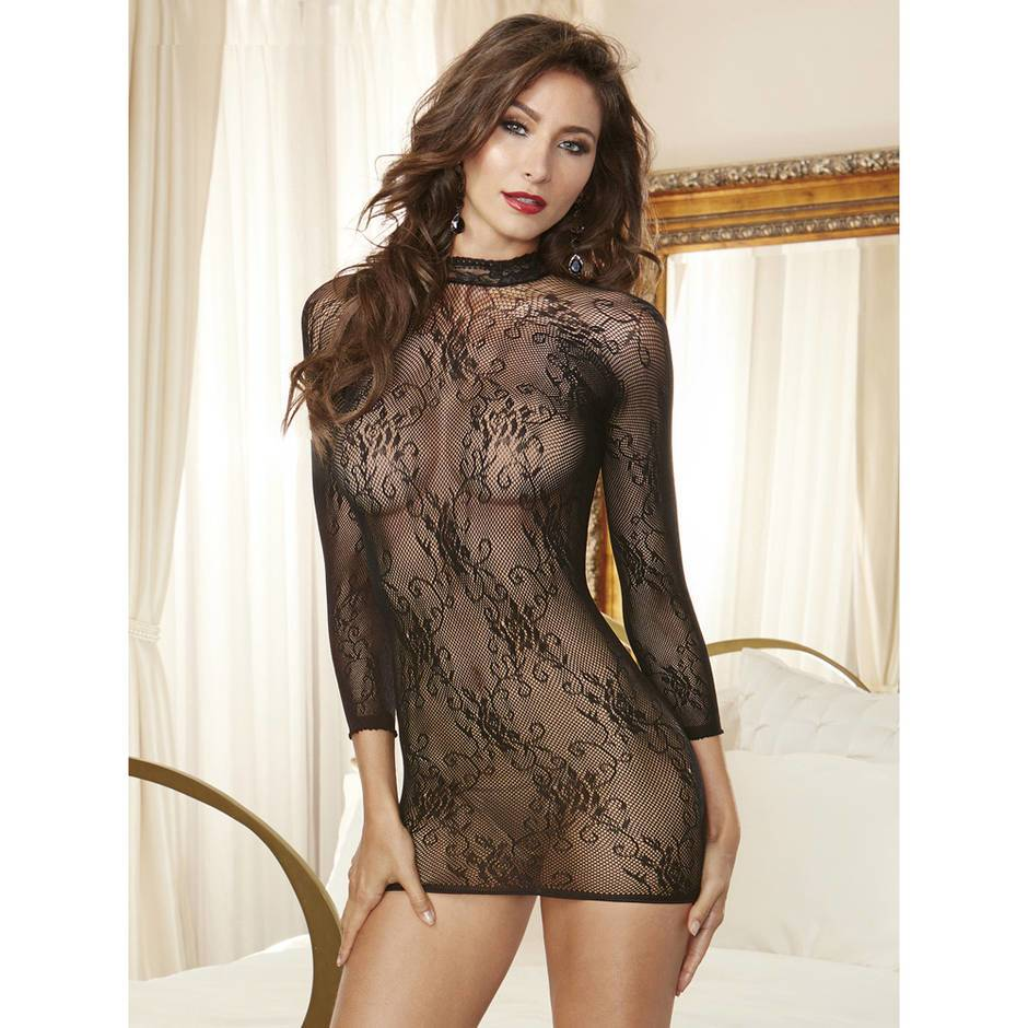 Dreamgirl Black Lace Long Sleeve Mini Dress