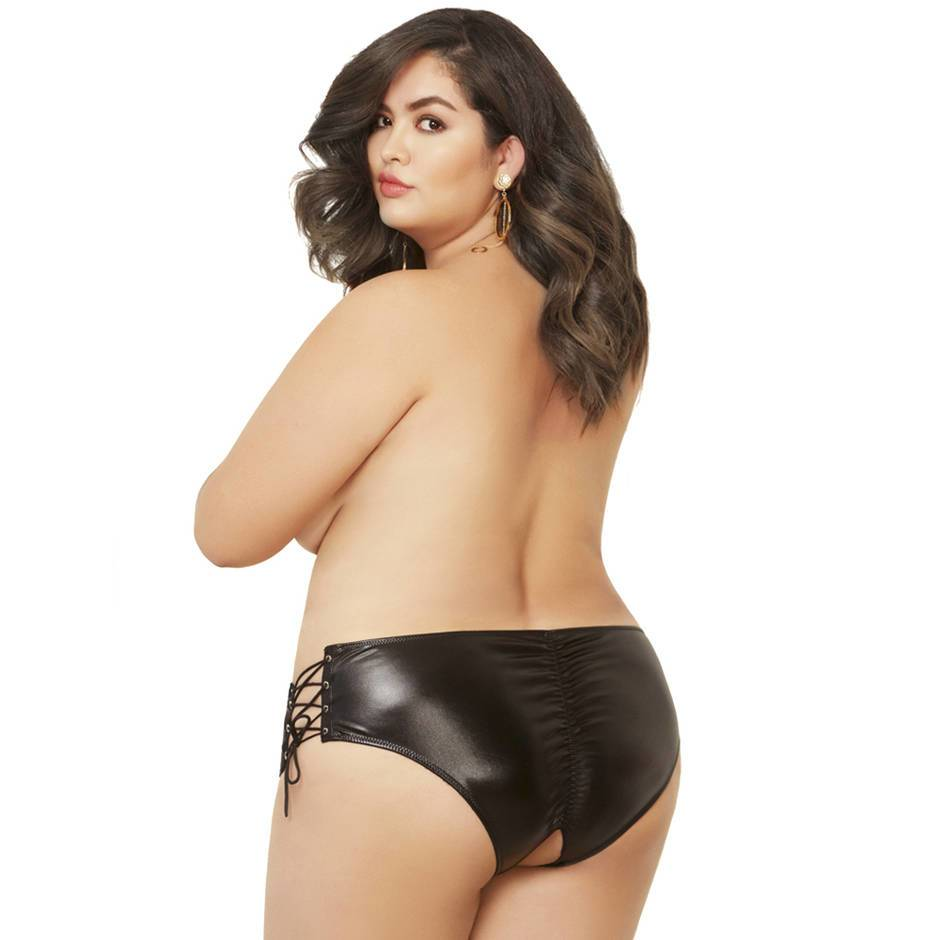 Seven 'til Midnight Plus Size Crotchless Wet Look Lace-Up Panties