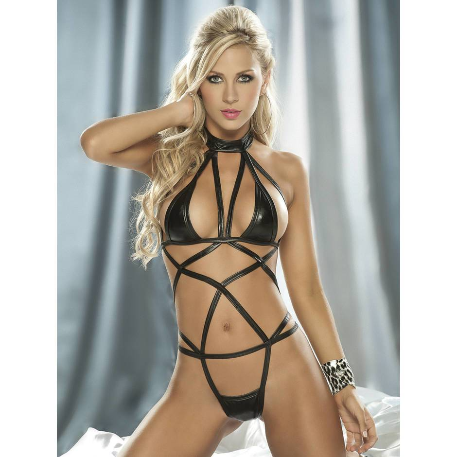 Mapale Black Wet Look Criss-Cross Teddy