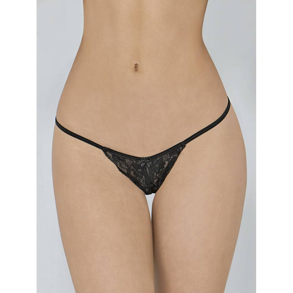 Escante Black Lace Crotchless G-String