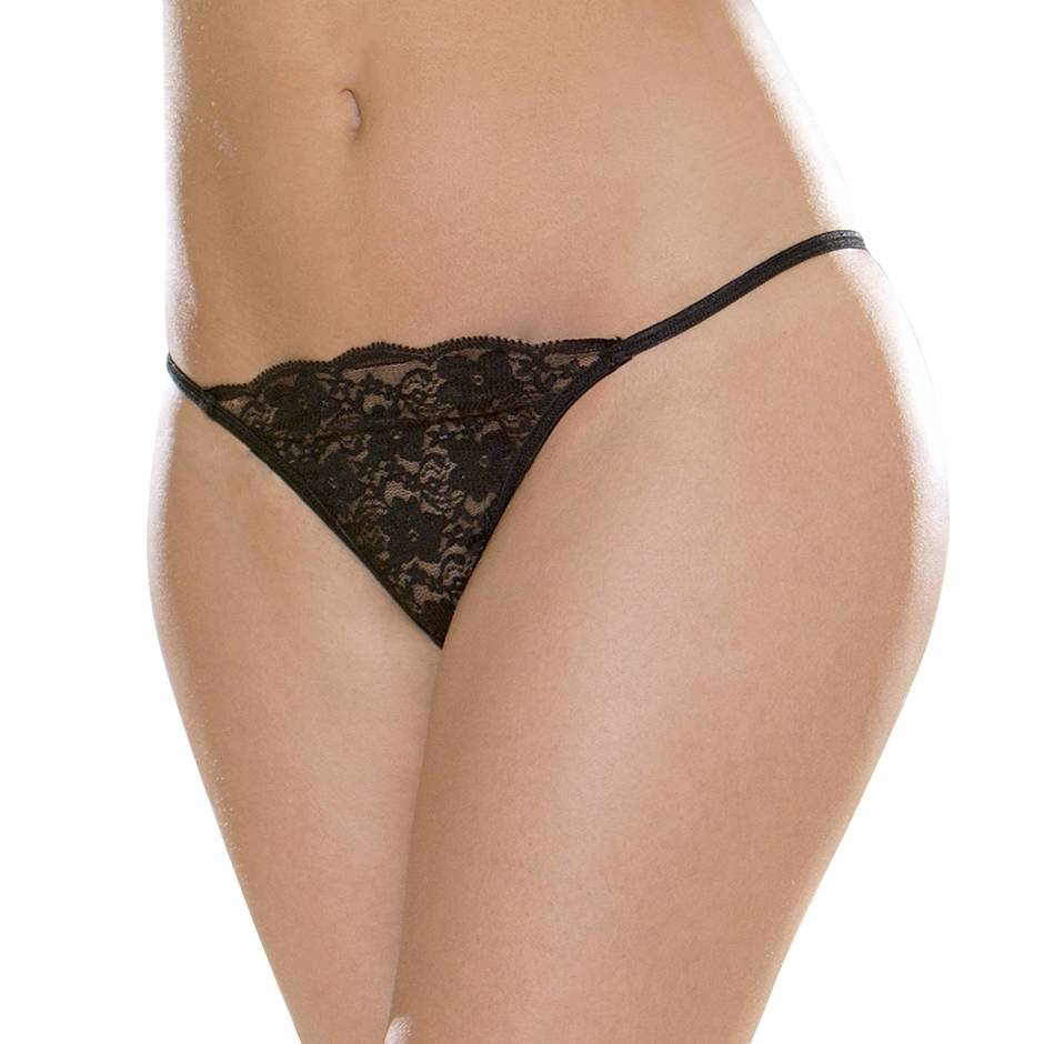 Escante Black Floral Lace G-String