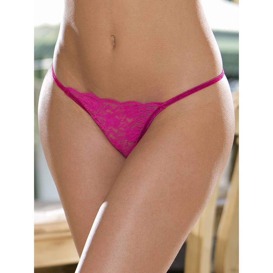 Escante Hot Pink Floral Lace G-String