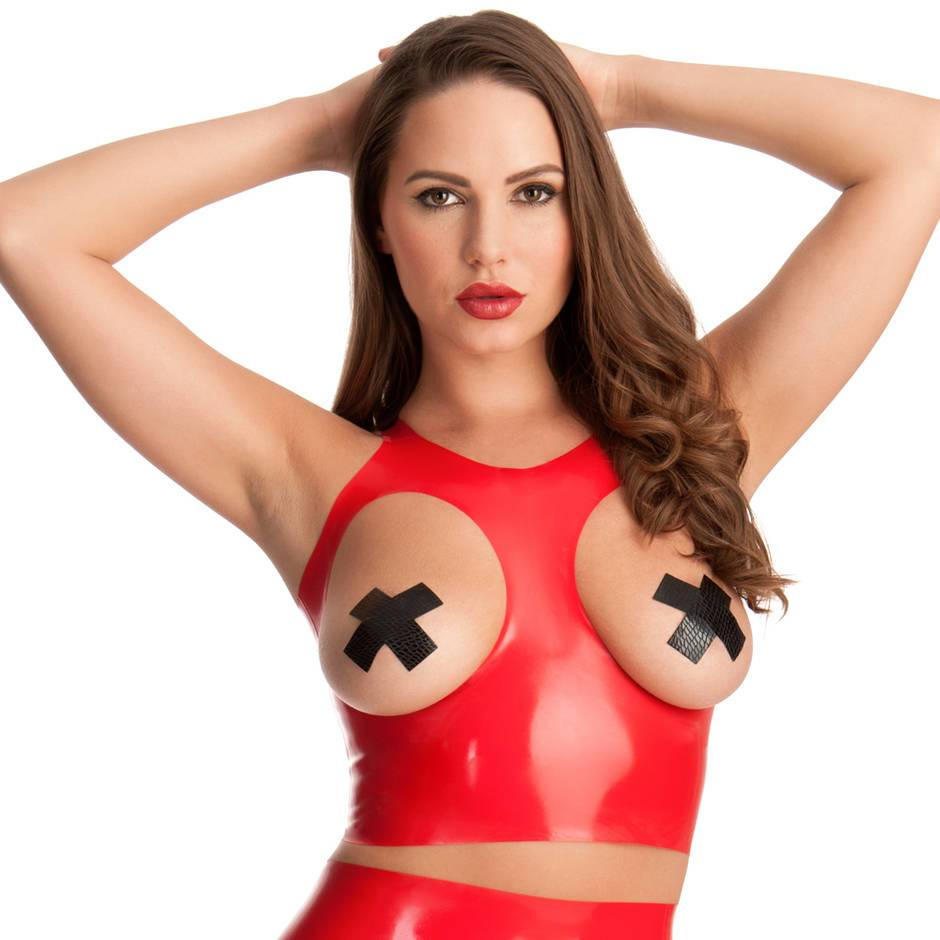 Rubber Girl Red Latex Open Cup Crop Top