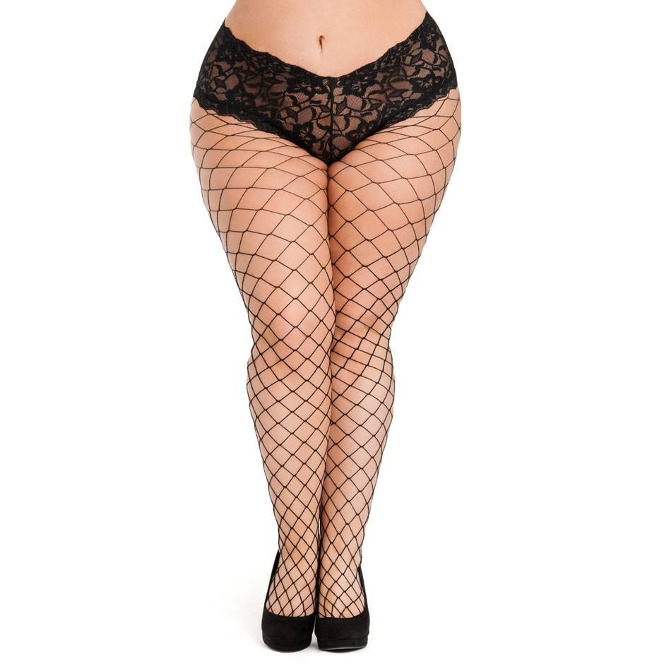 Lovehoney Plus Size Black Fence Net Tights with Crotchless Knickers