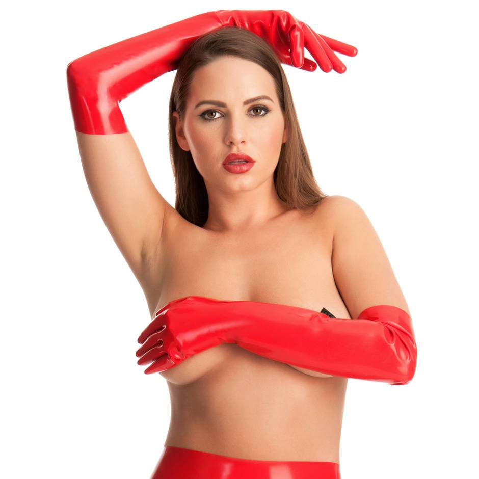 Rubber Girl lange Latex-Handschuhe (rot)