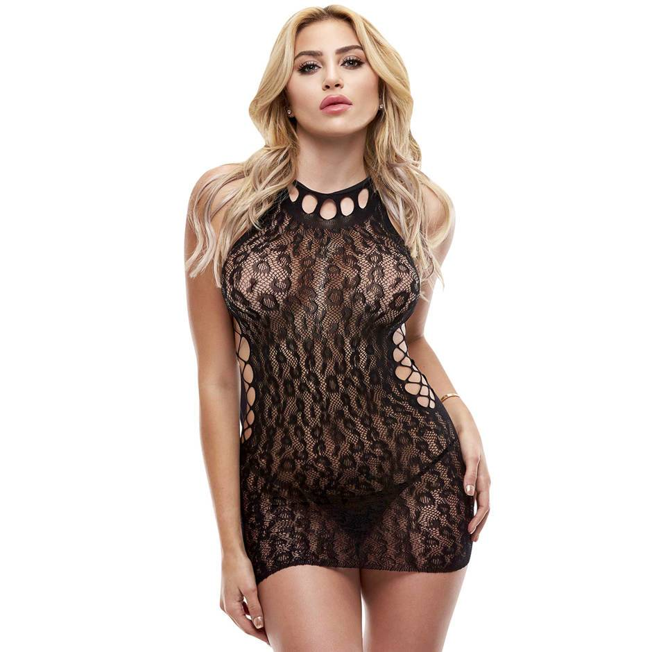 Lapdance Black Leopard Lace Mini Dress