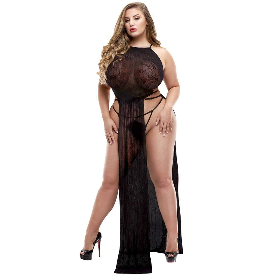 Lapdance Plus Size Black Long Lace Gown