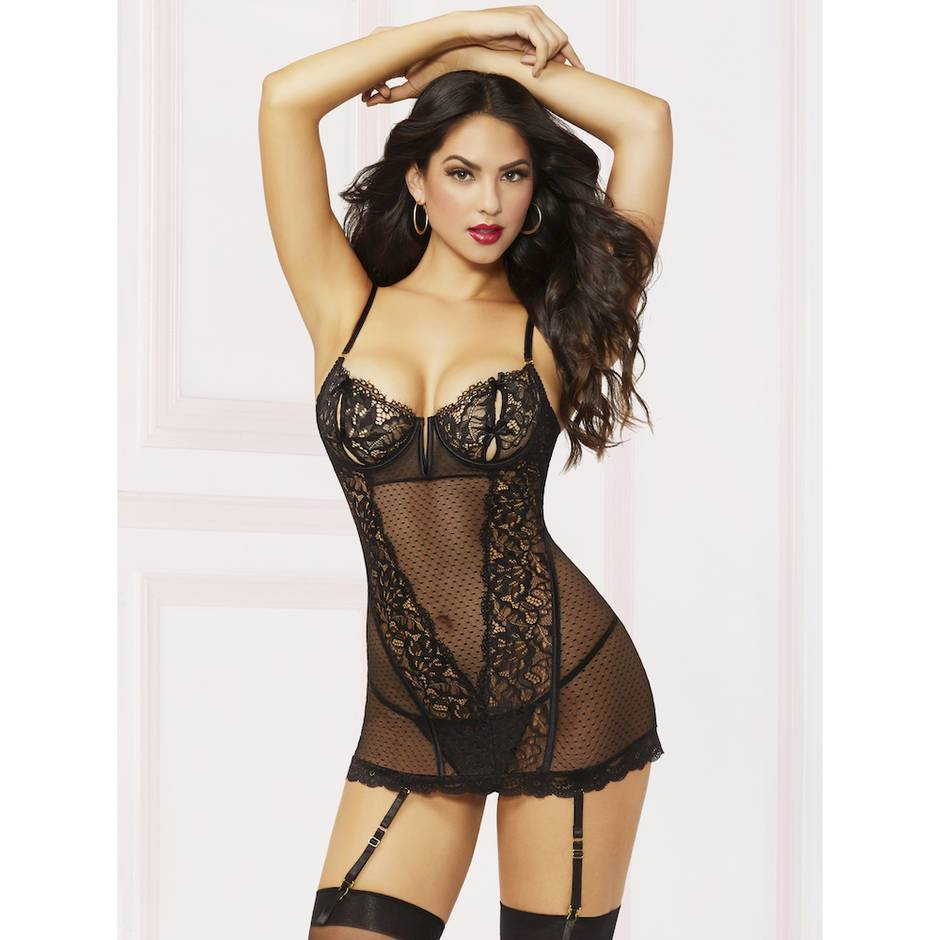 Seven 'til Midnight Black Peek-A-Boo Underwired Chemise Set