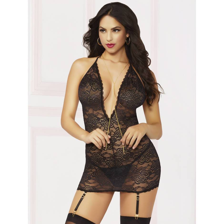 Seven 'til Midnight Black Lace Chemise Set with Gold Chain