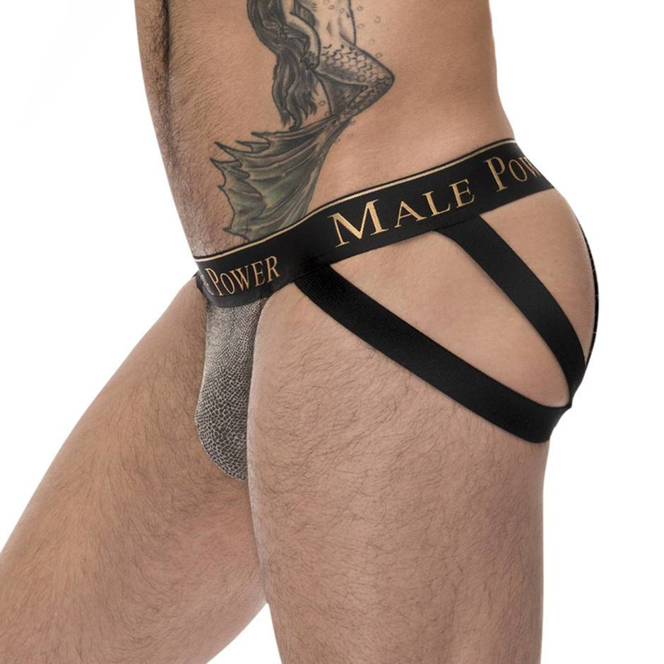Male Power Strappy Snakeskin O-Ring Jock Strap