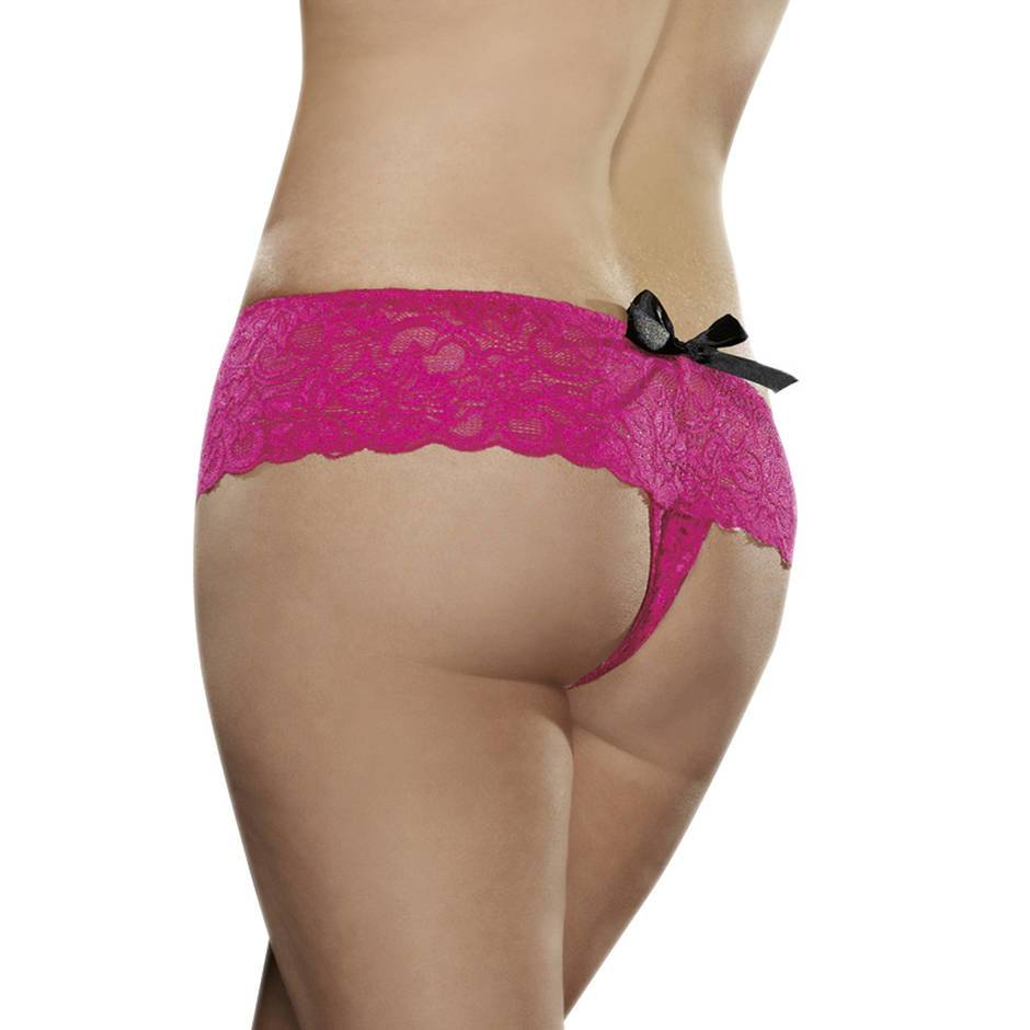 Dreamgirl Plus Size Floral Lace Crotchless Knickers