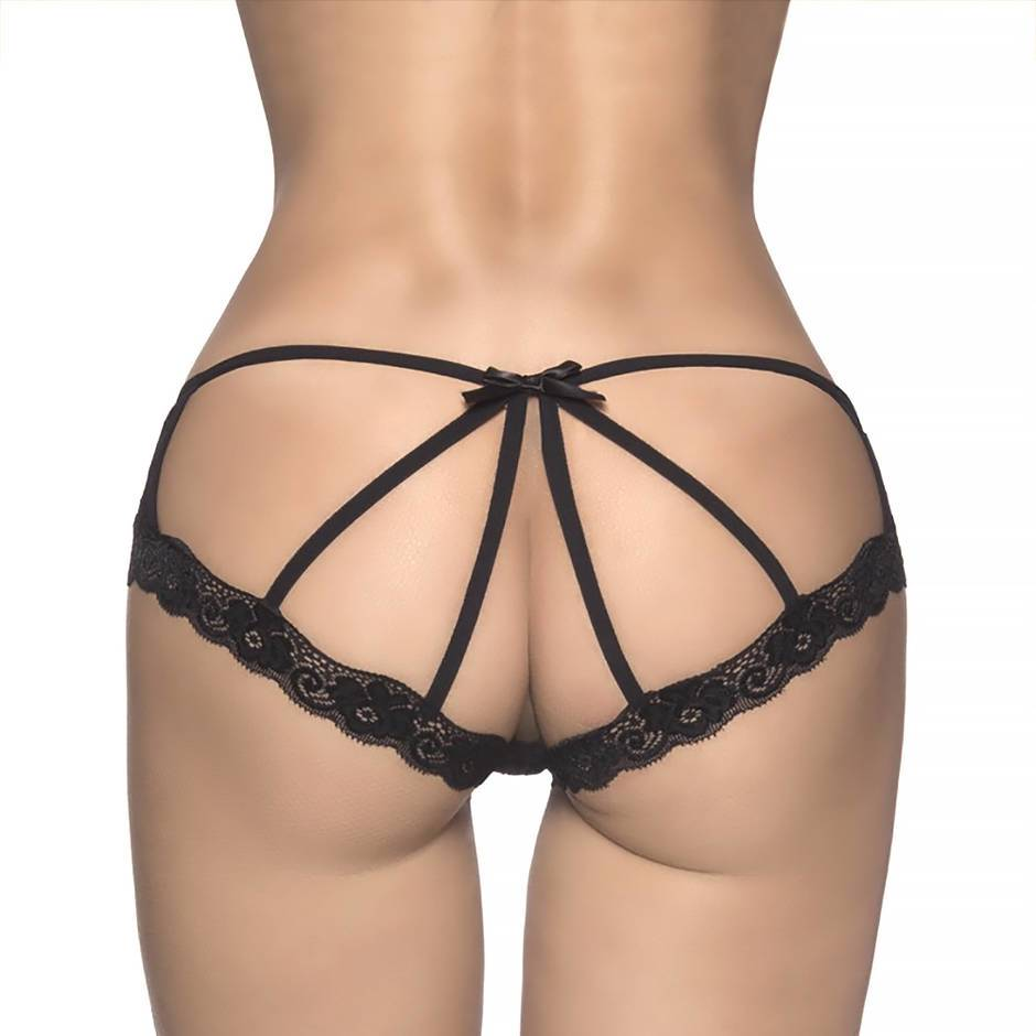 Oh La La Cheri Pink and Black Cage-Back Knickers
