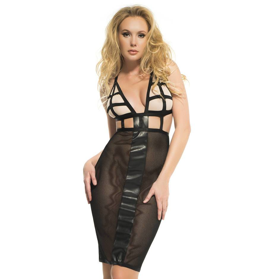 Adore by Allure Black Fishnet and Wet Look Dress