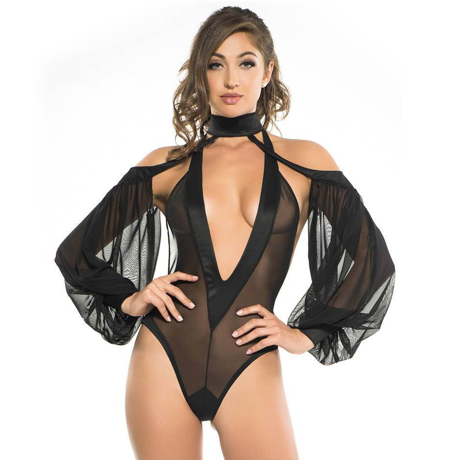 Adore by Allure Black Plunge Cold Shoulder Teddy
