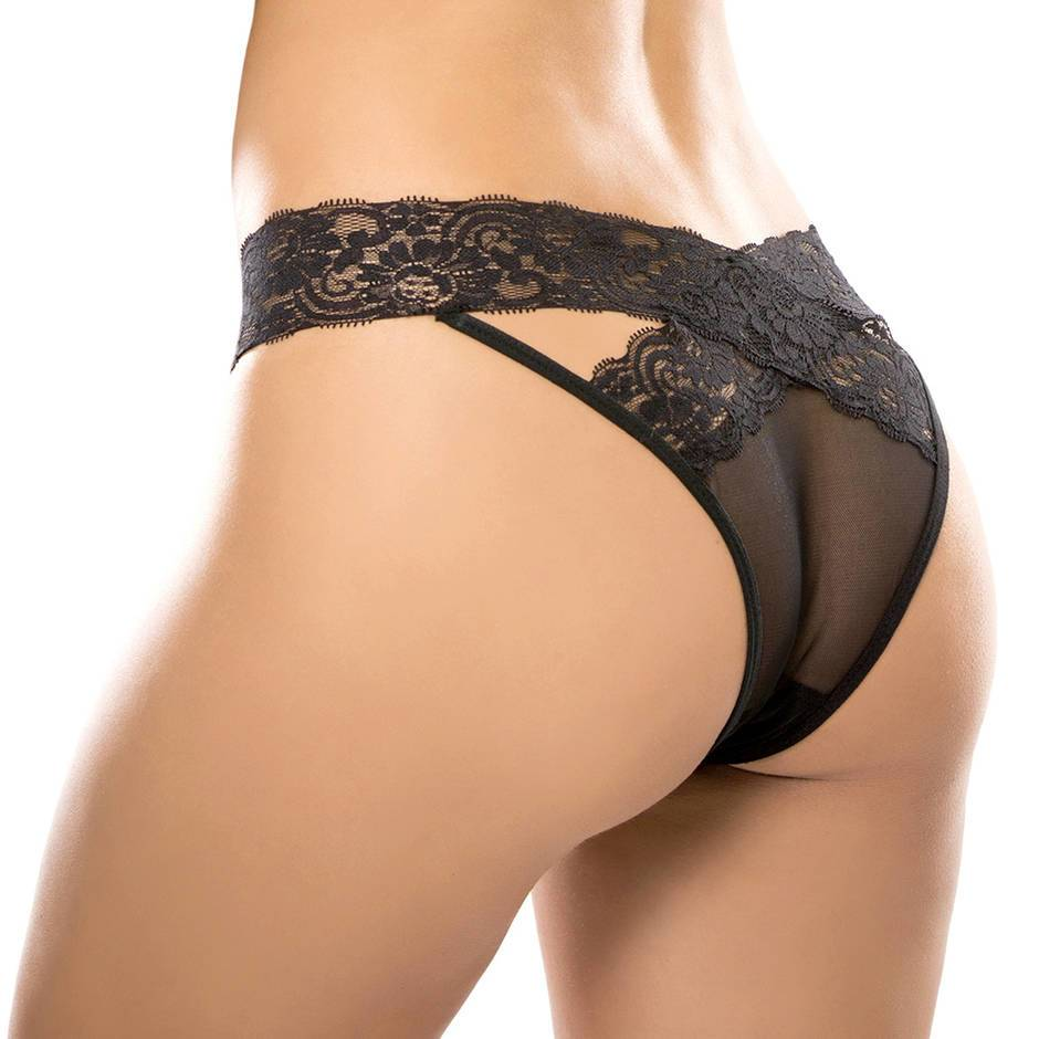 Adore by Allure Black Criss-Cross Crotchless Lace Panties