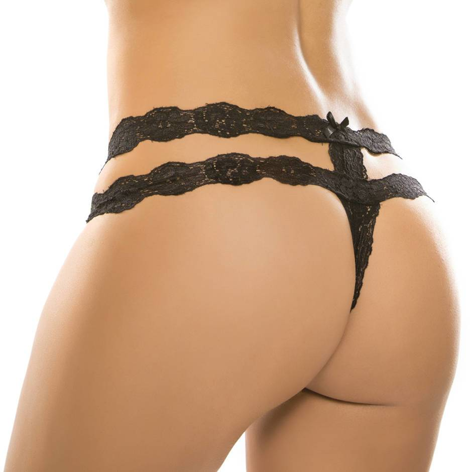Adore by Allure Black Crotchless Lace Strap Thong