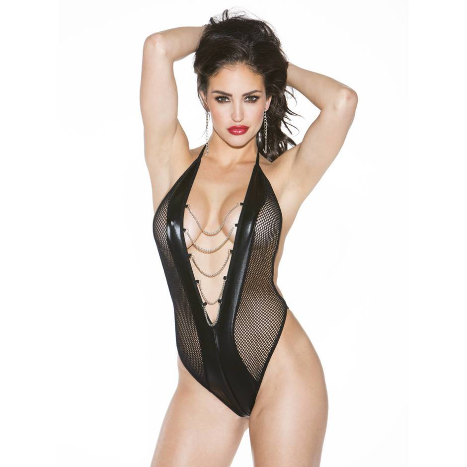 Shirley of Hollywood Black Plunge Fishnet Body