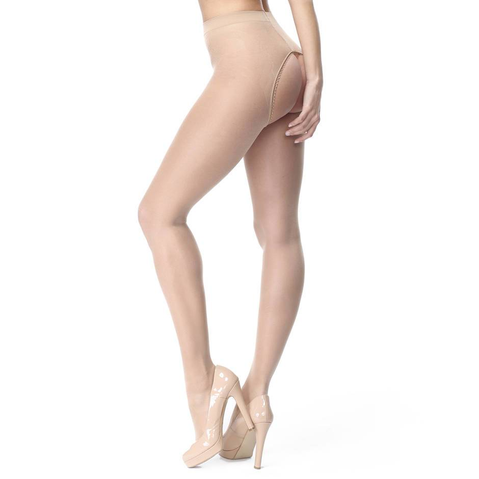 missO Shiny Nude Crotchless Tights