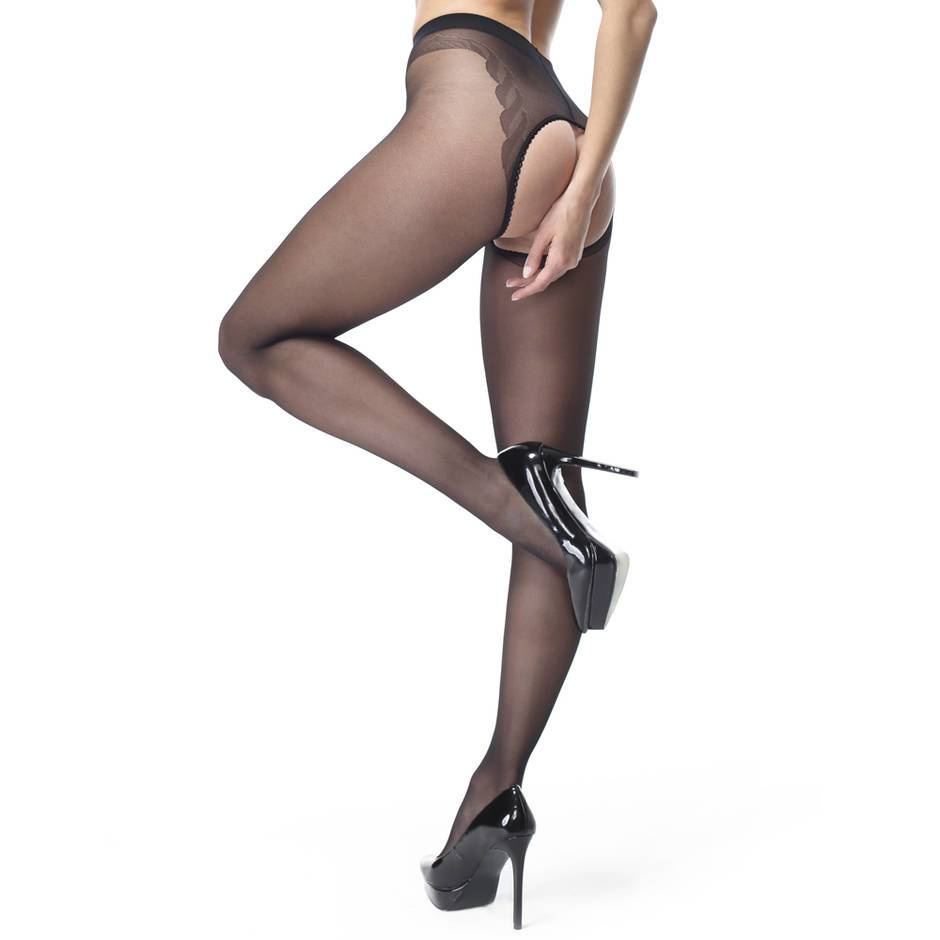 missO Shiny Black Crotchless Tights