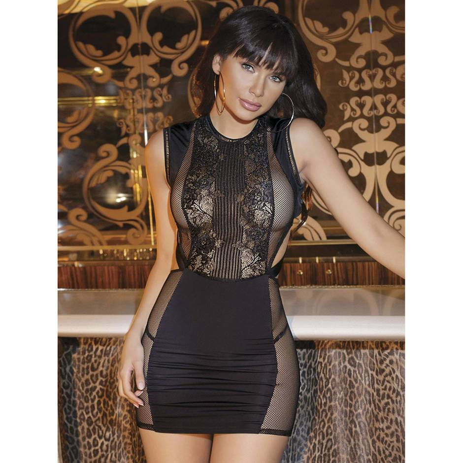 Coquette Black Lace Backless Mini Dress