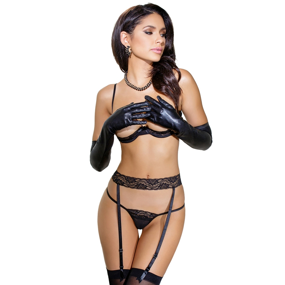 Coquette Black Quarter Cup Lace Bra Set
