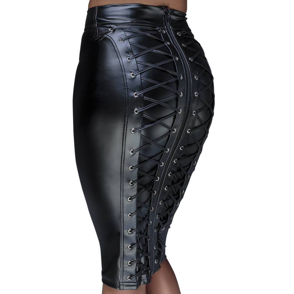 Noir Black Wet Look Pencil Skirt