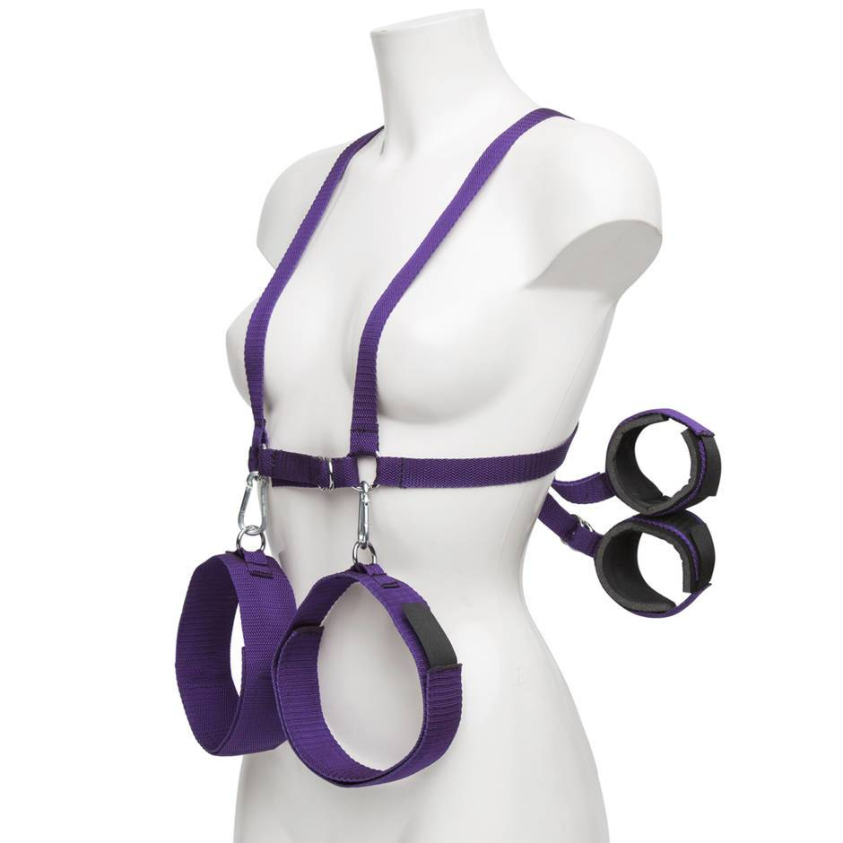 Purple Reins Body Harness with Wrist and Thigh Restraint