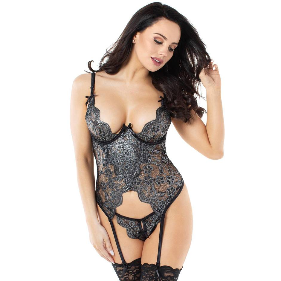 Dreamgirl Silver Underwired Lace Bustier and G-String Set