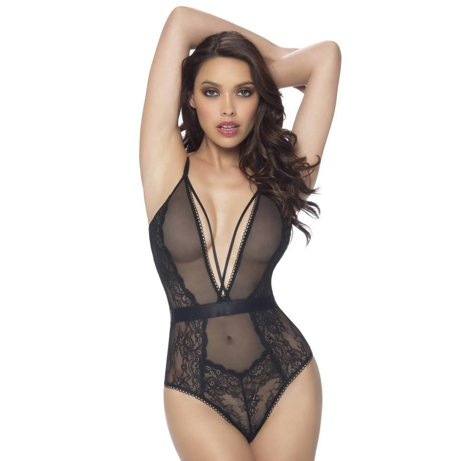 Oh La La Cheri Black Lace Plunge Body