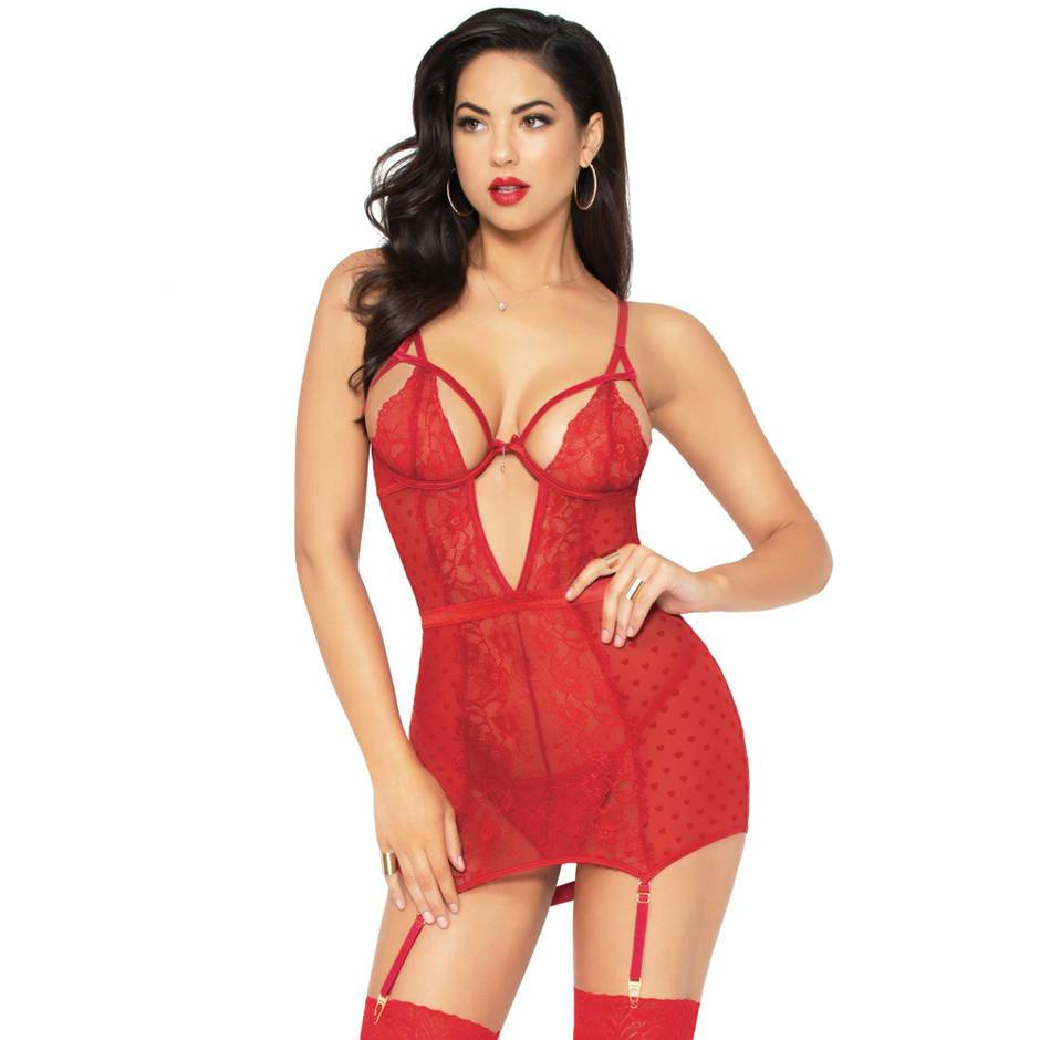 Seven 'til Midnight Red Heart Mesh Chemise Set