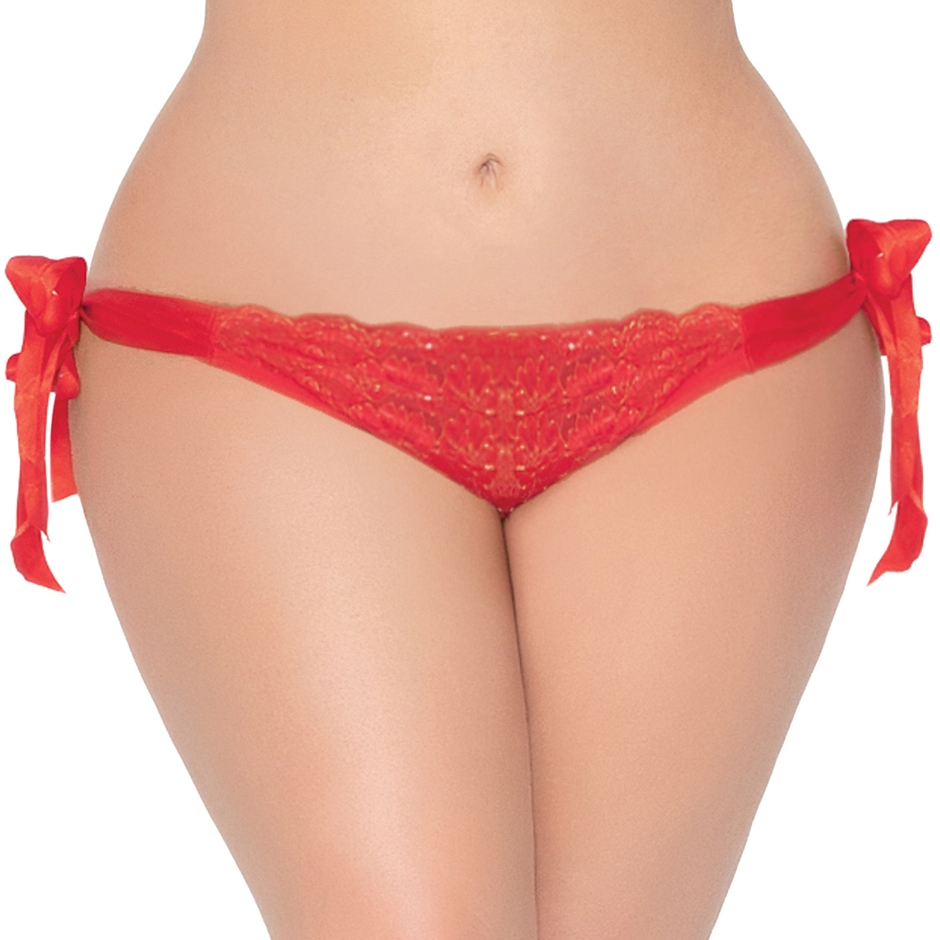 Seven 'til Midnight Plus Size Red Open-Back Knickers