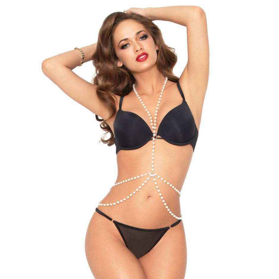 Seven 'til Midnight Pearl and Gold Draped Body Chain