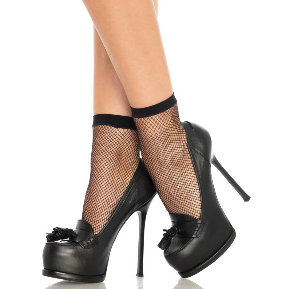 Leg Avenue Black Fishnet Ankle Socks