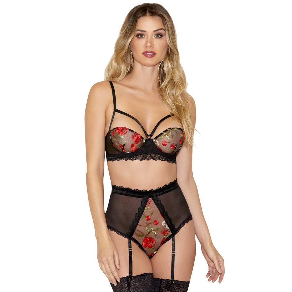 iCollection Black Floral Embroidery Bra Set