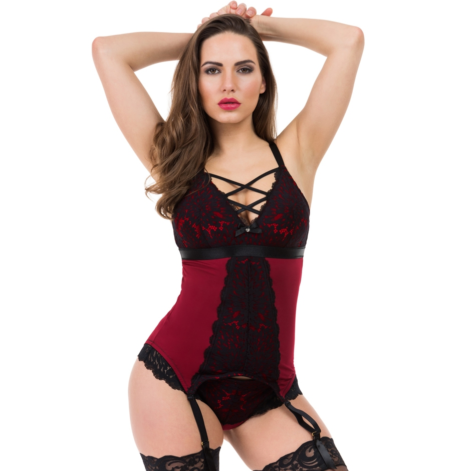 Lovehoney Night Lily Wine and Black Lace Basque Set