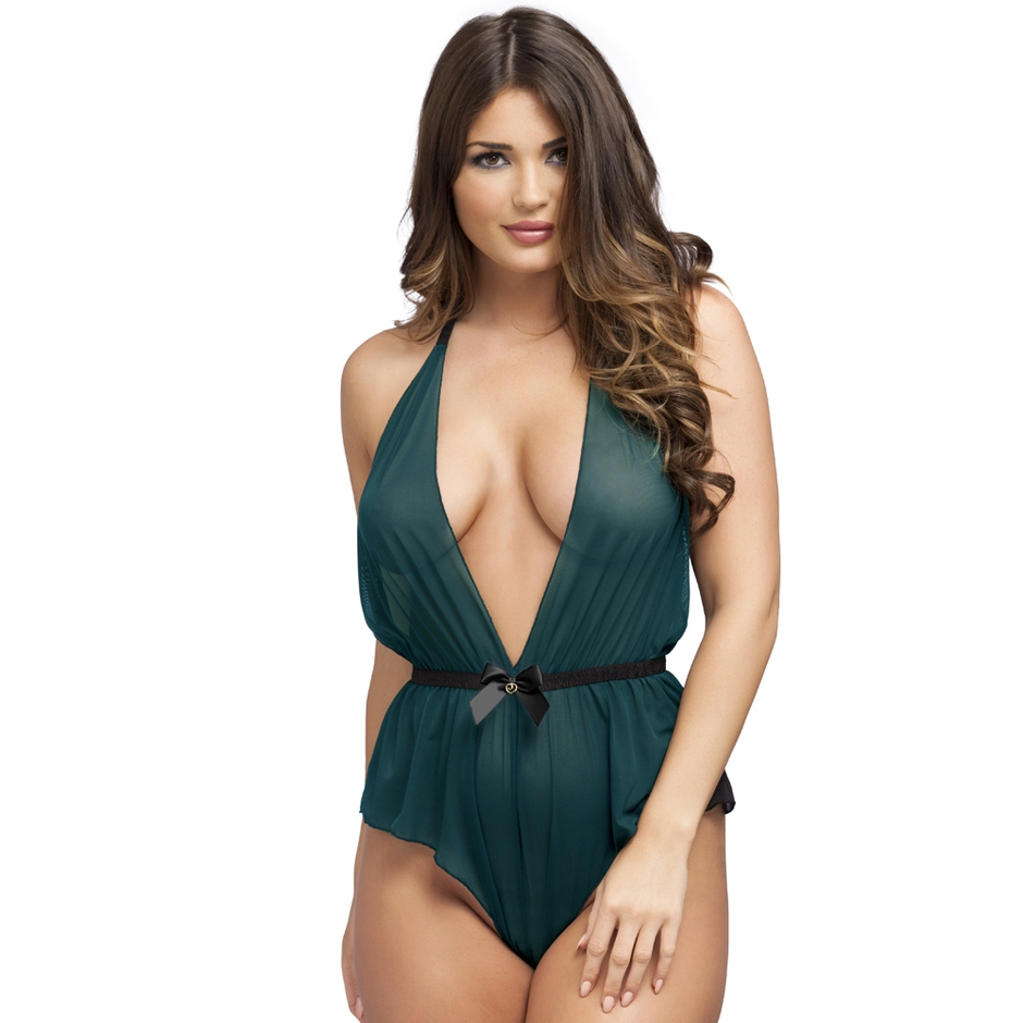 Lovehoney Barely There Sheer Green Crotchless Teddy