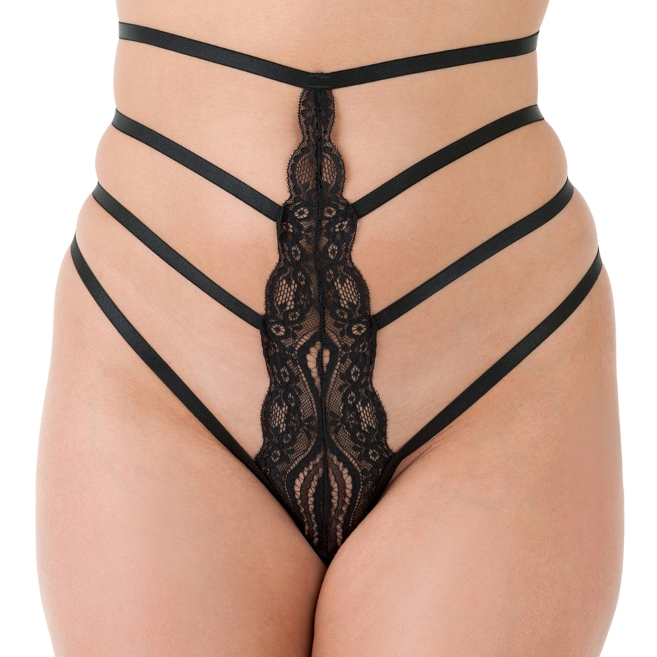 Lovehoney Black High-Waisted Strappy Lace Thong