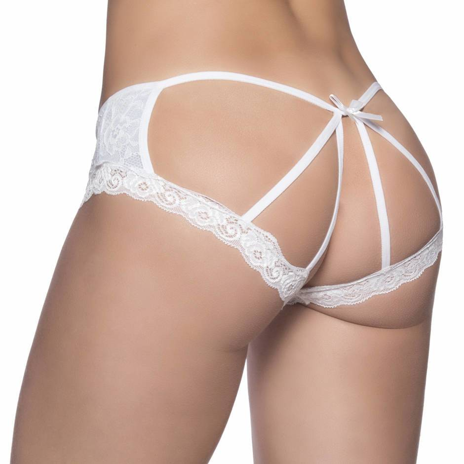 Oh La La Cheri Plus Size Blue and White Cage-Back Knickers