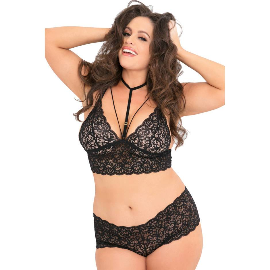 Rene Rofe Plus Size Black Lace Harness Bralette Set
