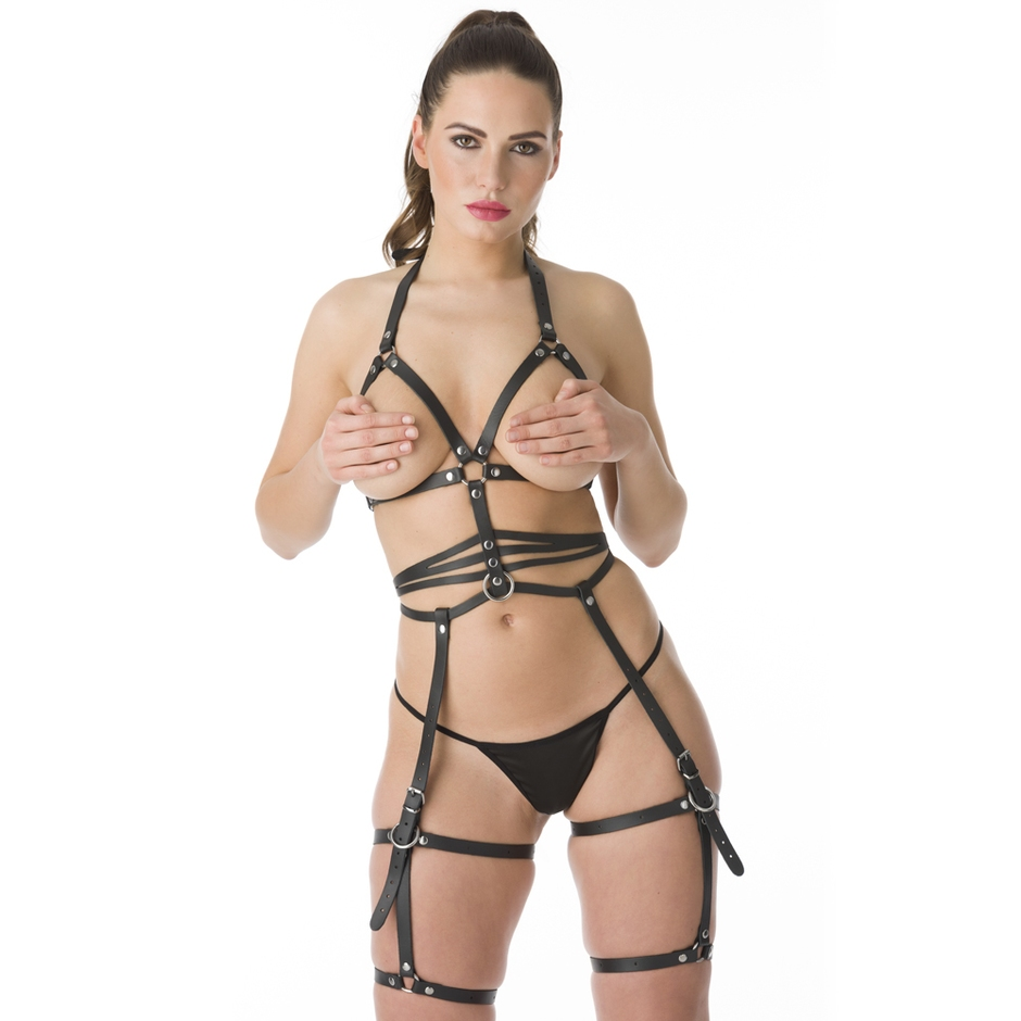 DOMINIX Deluxe Leather Full Body and Leg Harness