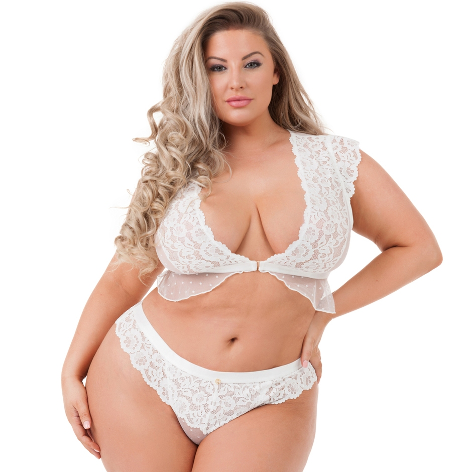 Lovehoney Plus Size Celeste White Lace Front-Fastening Bra Set