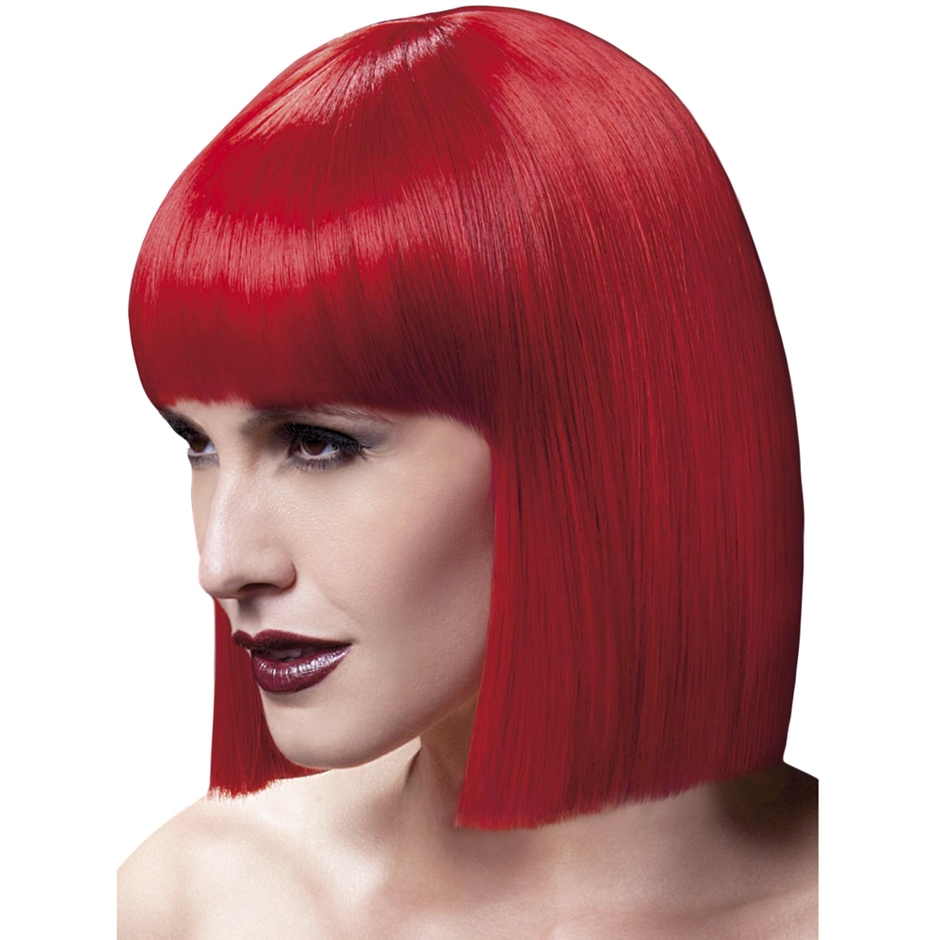 Fever Red Blunt Cut Bob Wig with Fringe
