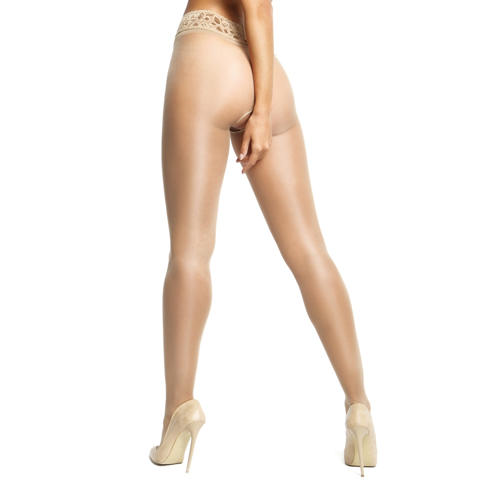 a774c1ce69212 MissO 20 Denier Nude Crotchless Tights with Lace Top | Lovehoney