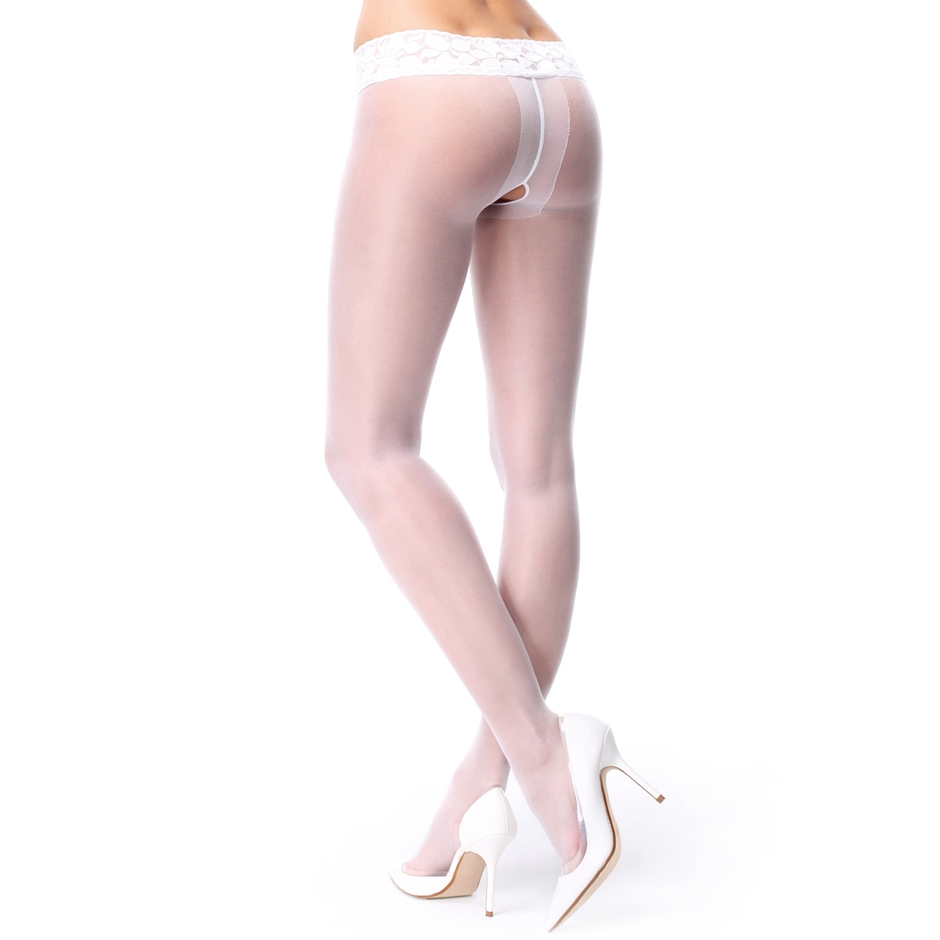 MissO 20 Denier White Crotchless Tights with Lace Top
