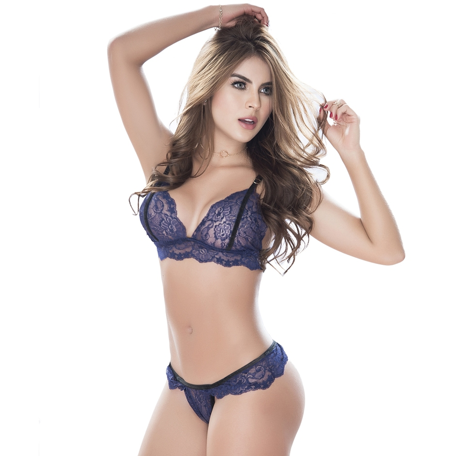 Mapale Blue Lace and Velvet Bralette Set